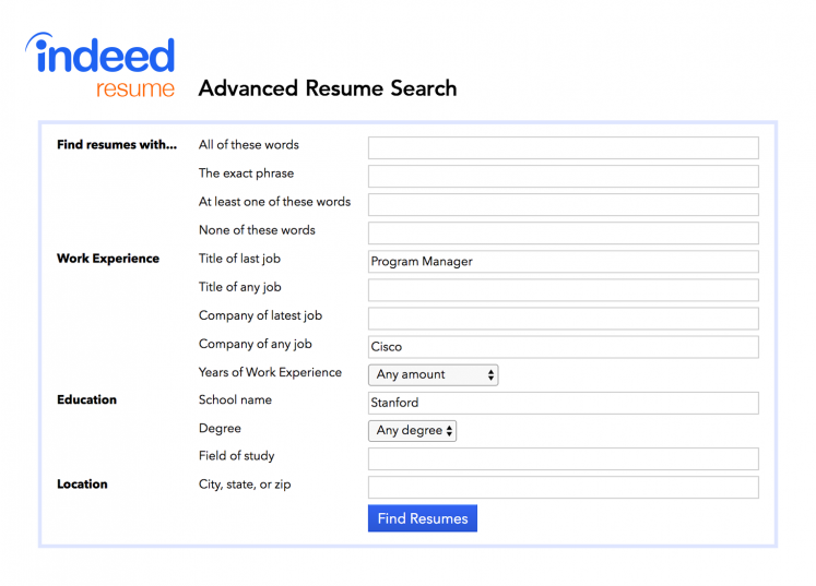 how to use indeed u2019s advanced resume search to find great